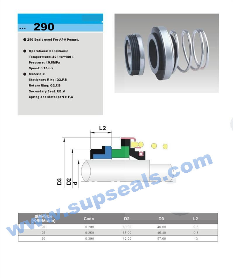 Factory Supplying 290 Mechanical Seal for Pump