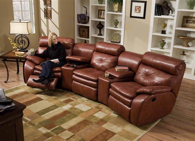 China Leather Recliner Sofa With Cup Holder YA 602