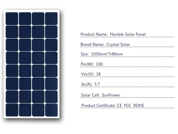 2017 Hot Sale Good Quality Competitive Price 100W Flexible Solar Panel