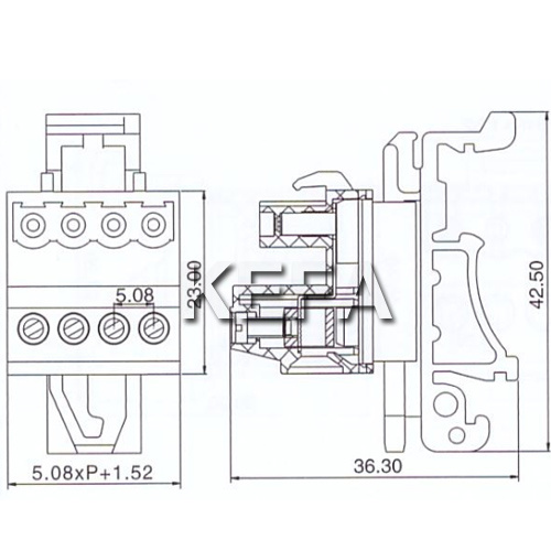 china pluggable terminal block connecor with din rail for