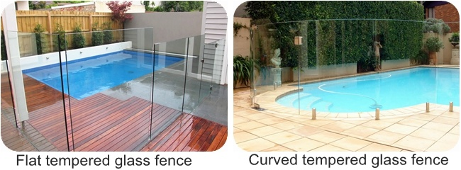 Flat Or Curved Toughened Glass Railing For Swimming Pool Fence Polished Edge Manufacturers And