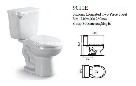 China 9011e Cheap Upc Elongated Siphonic Two Piece Ceramic