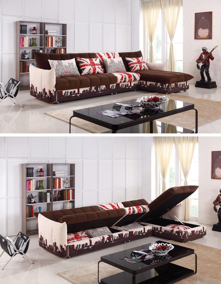 Modern L Shaped Sofa Bed With Big Storage