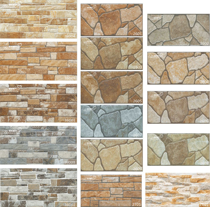 China 3d Ceramic Stone Rustic Exterior Wall Tile For