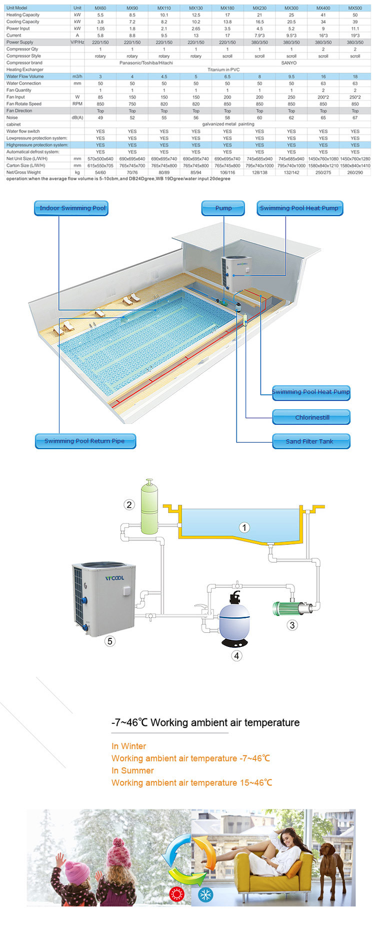 China Vertical Type Air Water Swimming Pool Heater China Air Source Heat Pump Air To Water