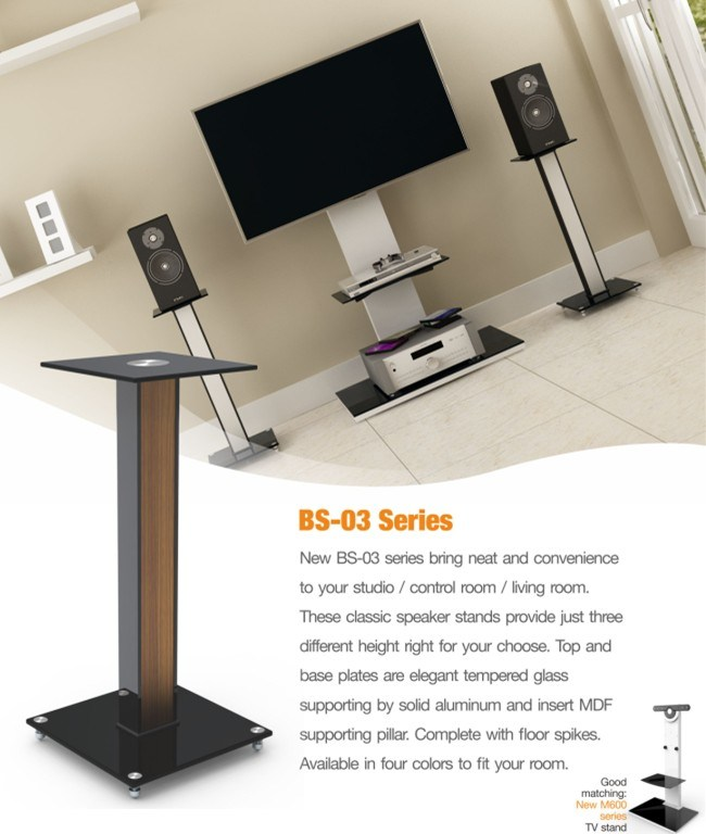 """23.6"""" Aluminum, Glass and Wood Bookshelf Speaker Stands, Four Colors"""
