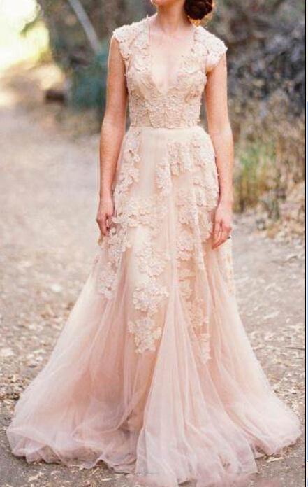 Blush wedding dresses bridal accessories high cut for Pink lace wedding dresses