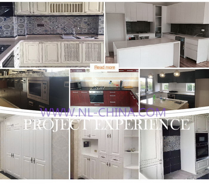 China Engineered Wood Veneer Kitchen Cabinet With Blum