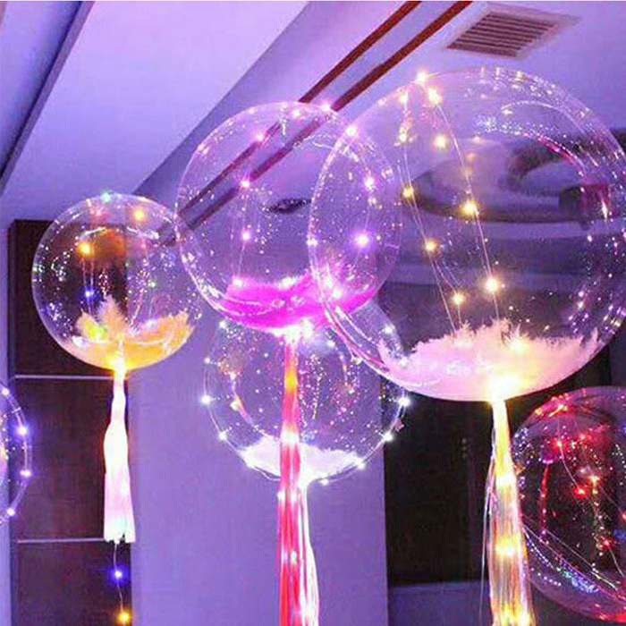 Floated Helium Bobo Balloons with Copper LED String Light