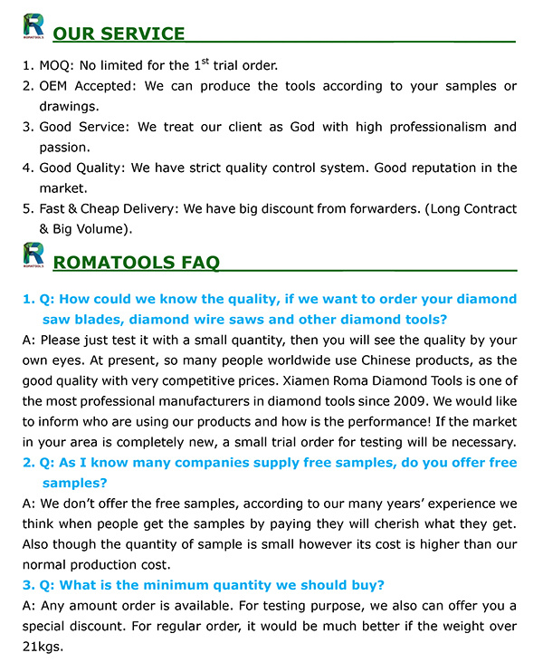Romatools Grit 100# Diamond Fickerts with Metal Bonded and Length 140mm