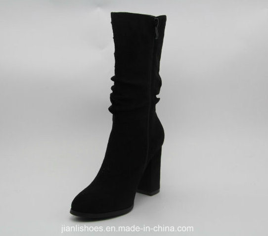 Sexy Carve Patterns MID-Claf Boots with Draped Decoration (BT703)