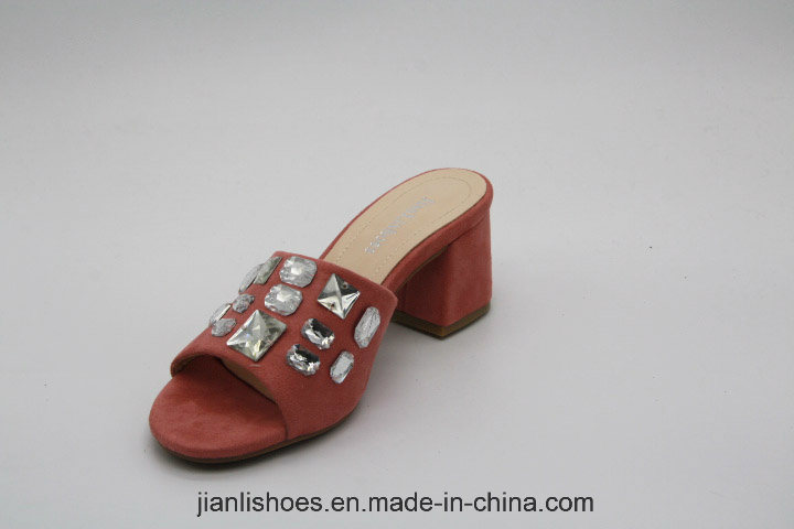Crystal Mules Block Heel Slippers Open Toe Women Sandals (MU203)
