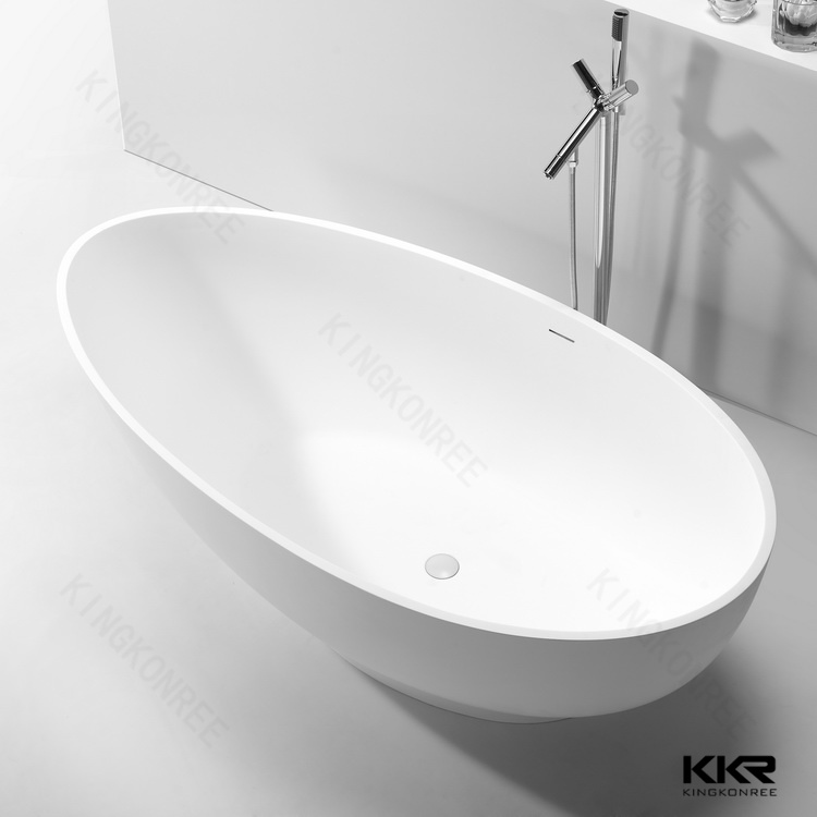 2017 new design solid surface round freestanding whirlpool for Best freestanding tub material