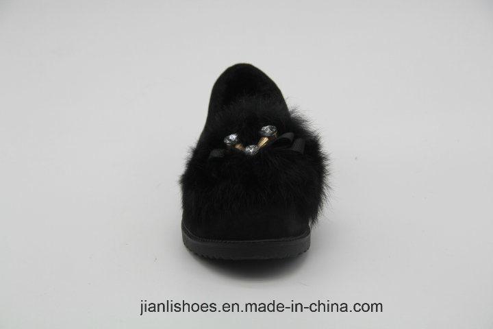 Популярная модная мягкая меховая шерстяная сандалия с прекрасным украшением Bowknot (FL306)
