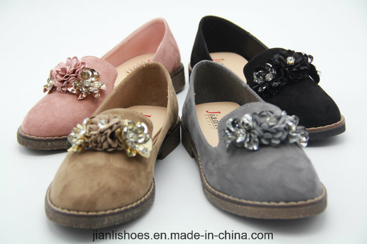 Hot Sales Lady's Flat Sandals with Sexy Flower Decoration (FL310)
