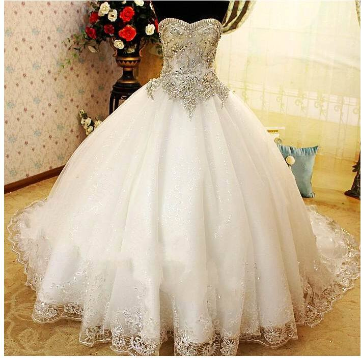 China luxury strapless ball gown crystal bridal wedding for Luxury ball gown wedding dresses