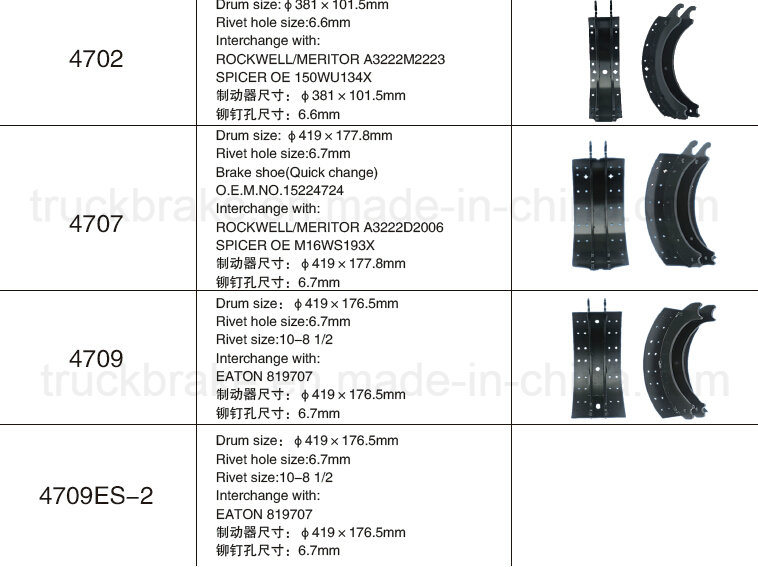 Brake Shoes Cross Reference Chart : Heavy duty brake shoe identification style guru fashion