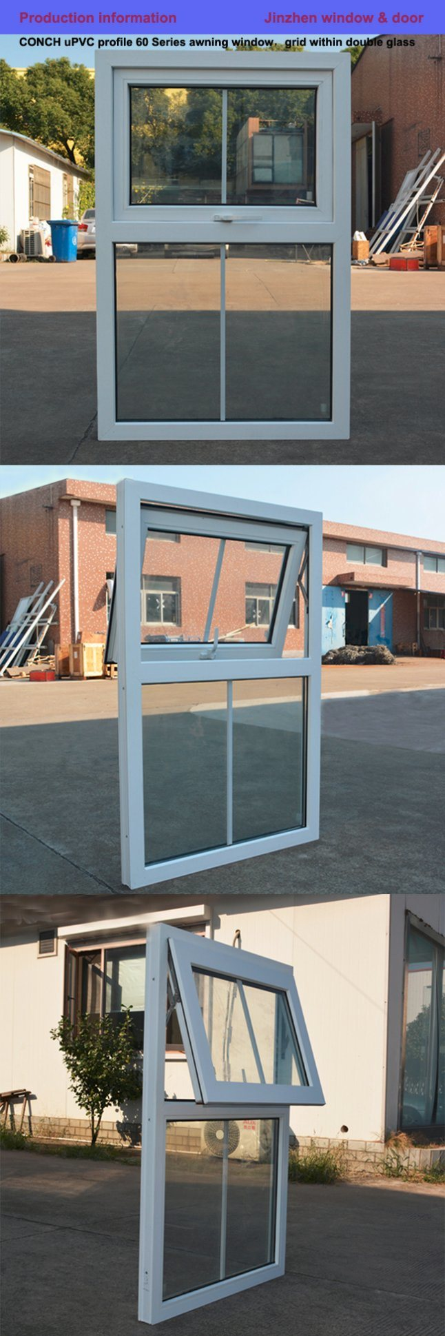 Double awning windows - White Colour Upvc Profile Awning Window Double Glass With Grid K02041