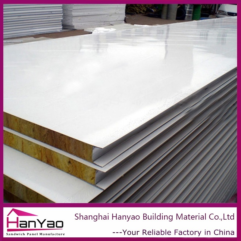Fireproof Metal Panels : China insulated fireproof steel rock wool sandwich board