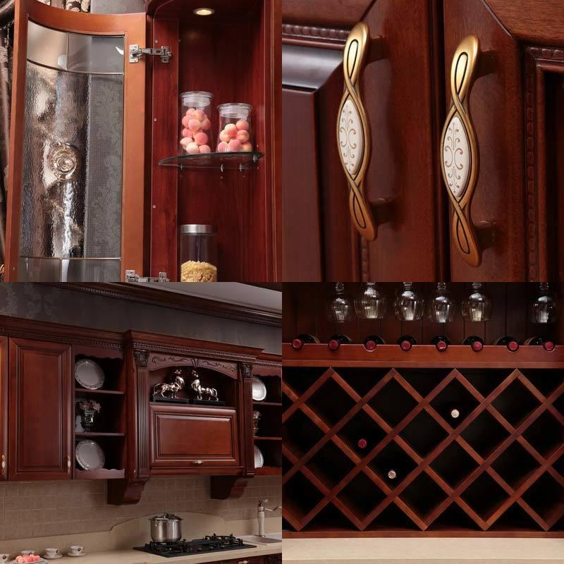 2015 italia dise o de madera maciza cocina de lujo for Ver muebles de cocina de madera