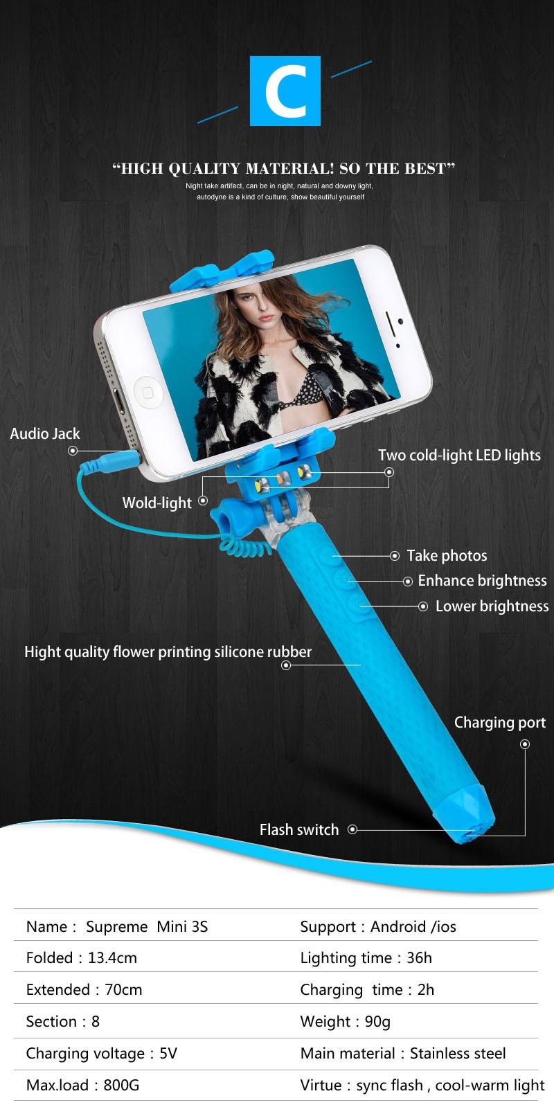 china new monopod selfie stick with led flashlight rk. Black Bedroom Furniture Sets. Home Design Ideas