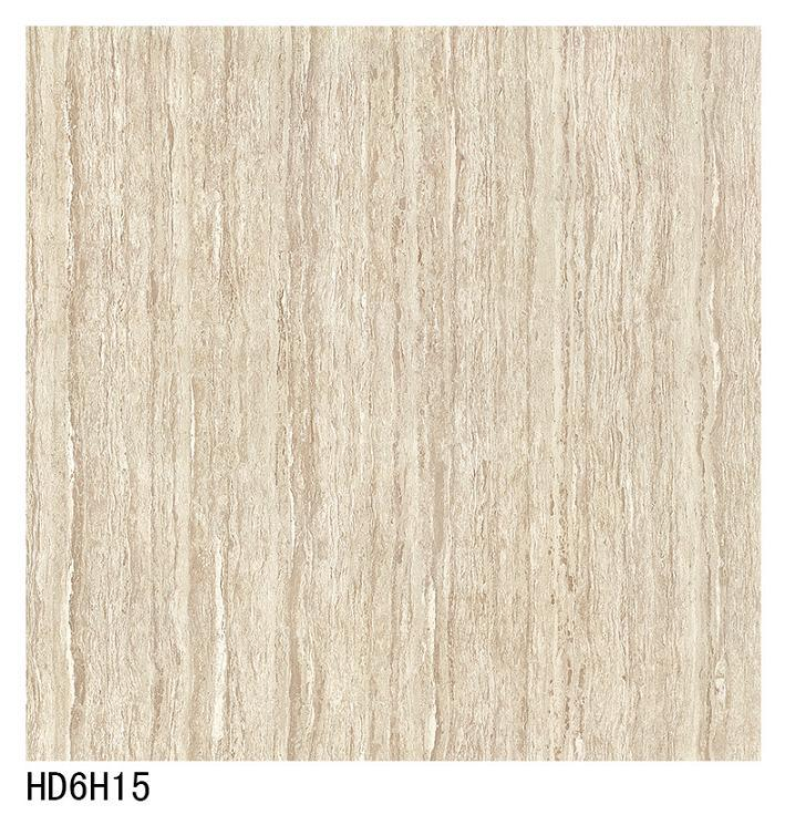 HD6h15 Light Gray Color Line Stone Double Loading Polish Porcelain Floor Tile