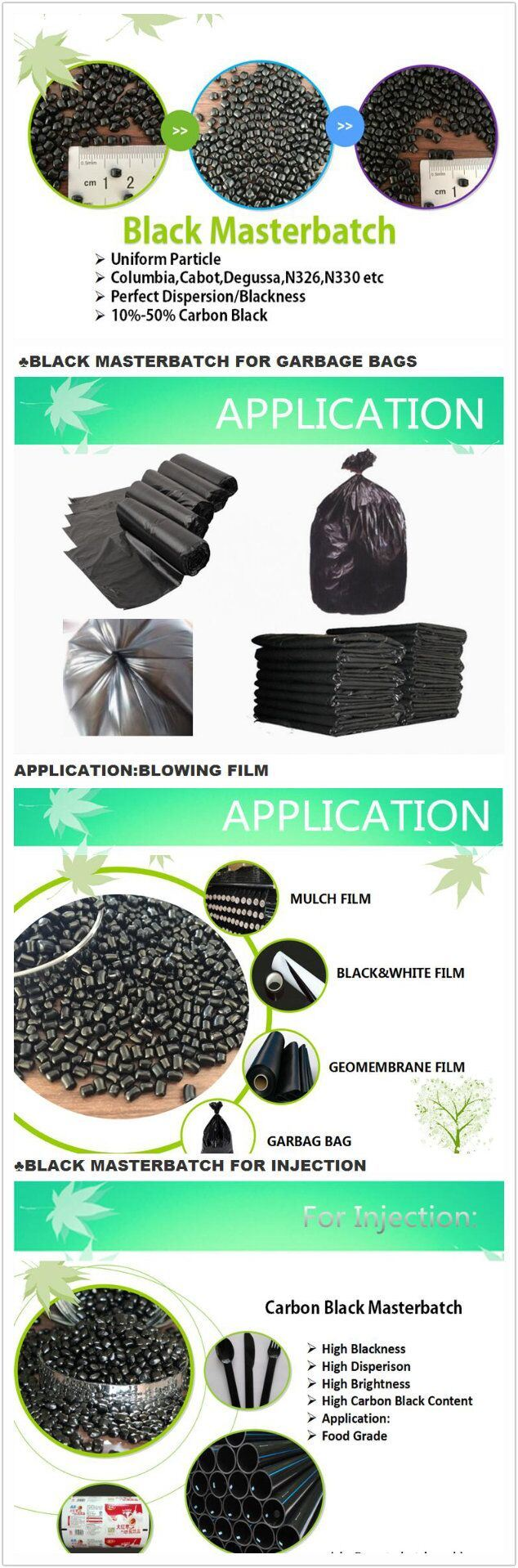 Plastic Black Masterbatch for Injection Film