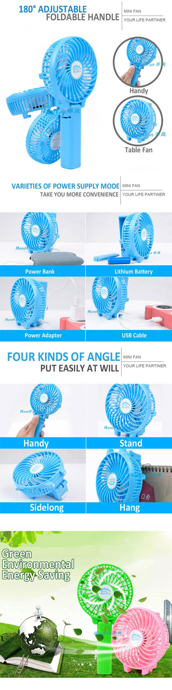 Plastic Hand Fan, Portable Handheld Mini Fan (HF-308)