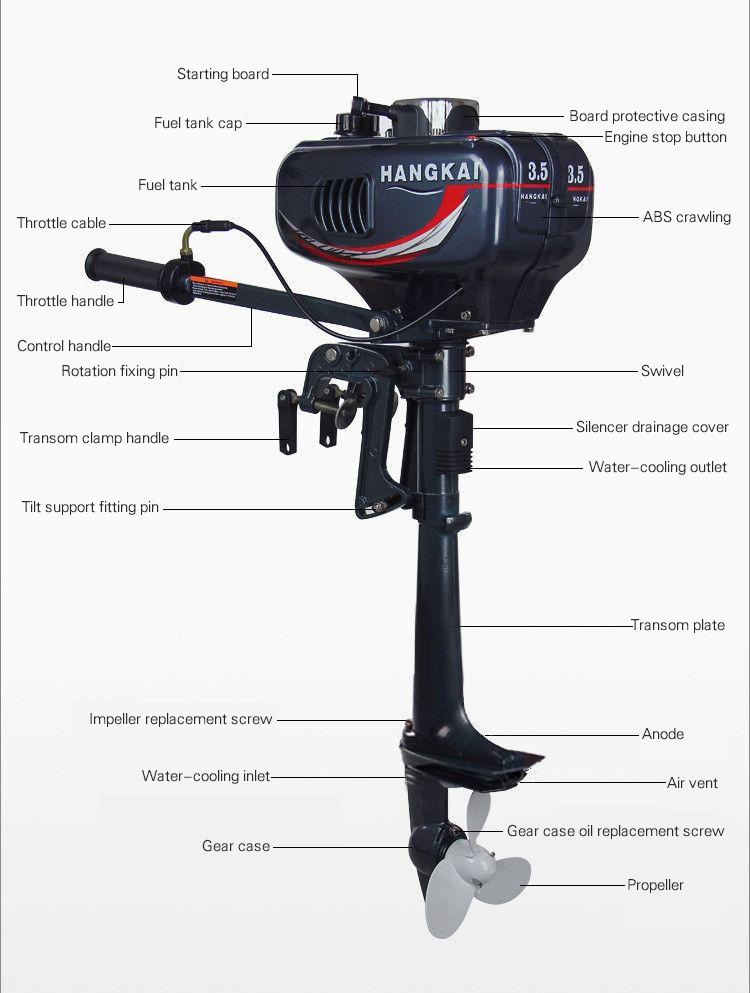 China high quality 2 stroke 3 5hp hangkai outboard motor for Hangkai 3 5 hp outboard motor manual