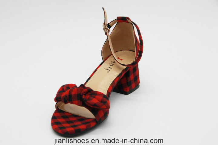 2018 Fashion Lattice Bowknot Low Heeled Women Sandals Shoes (HSA31)