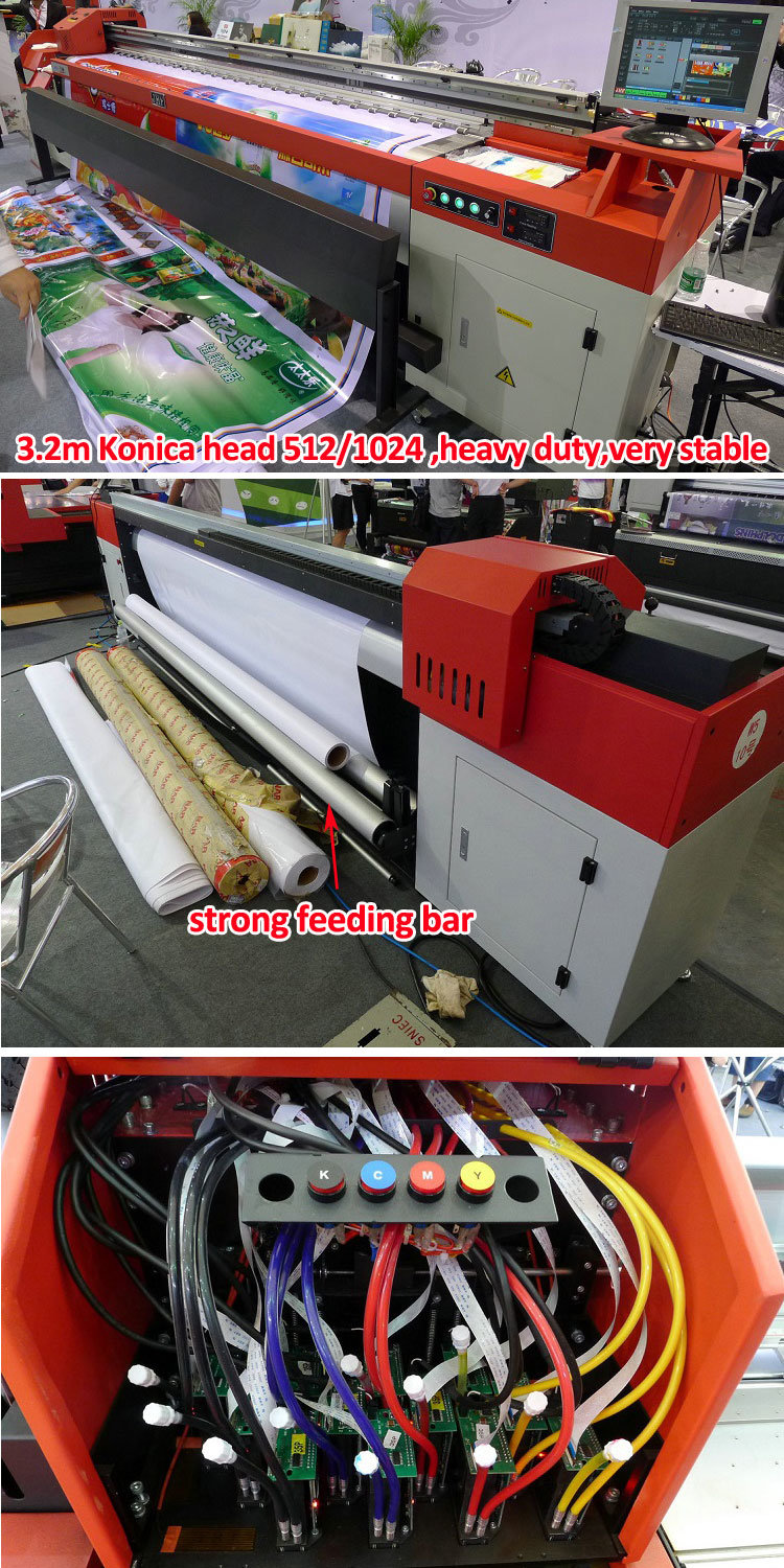China Jhf Large Solvent Plotter With Konica512 1024 14pl