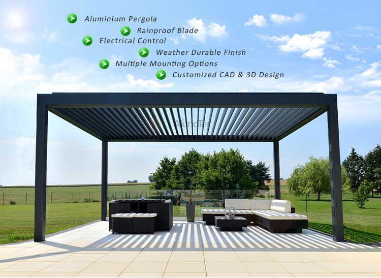 Customized Adjustable Shade Pergola Openable Louvre Roof System - China Customized Adjustable Shade Pergola Openable Louvre Roof