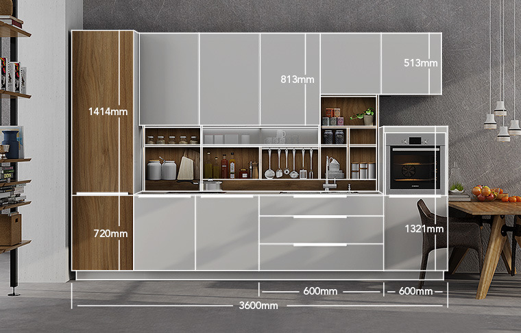 China 2017 White Lacquer 360cm Standard Modular Kitchen