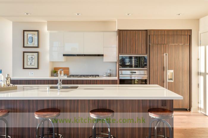 Cucina moderna di concetto aperto con rivestimento ecologico del ...