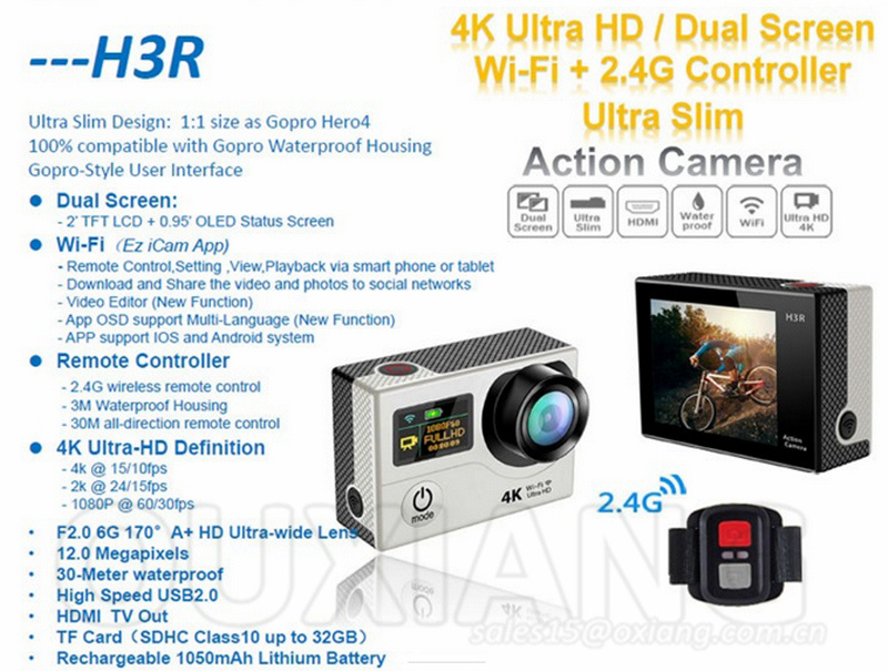 Ultra 4k HD WiFi Sport Camera Dual Screen Waterproof Remote Control Helmet Action Camera