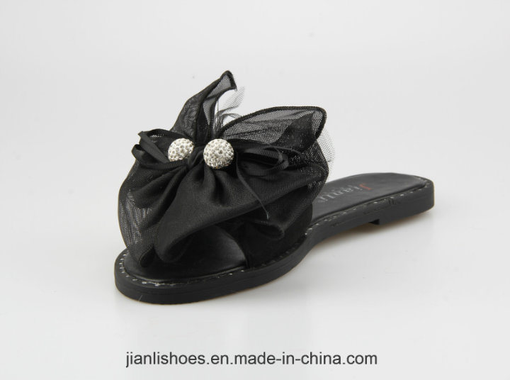 2018 Classic Women Shoe Flat Slipper with Bowknot Decoration (FSL007)