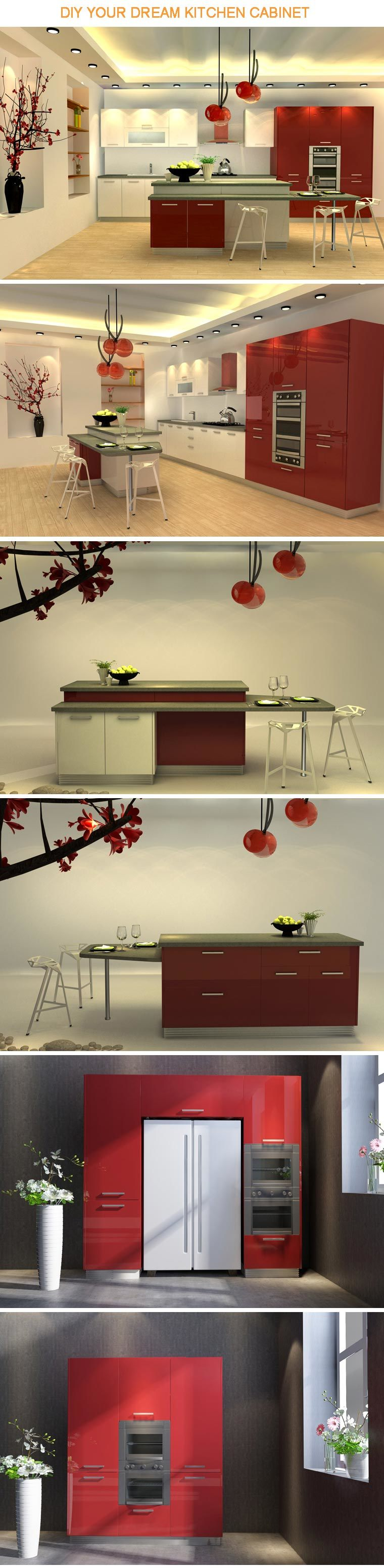 China diy red and white lacquer modular kitchen cabinet for Kitchen cabinets 700mm