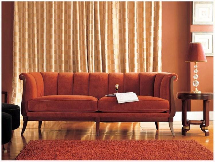 Muebles clásicos de la sala de estar/sofá rojo de madera del sofá ...