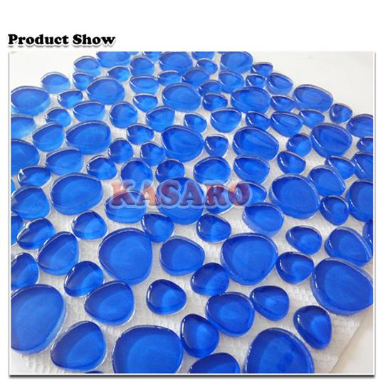 진한 파란색 Pebble Glass Mosaic Mesh Mounted Back 12X12 (KSL5516) – 진한 ...