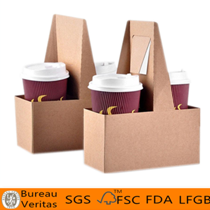 China Disposable Take Away Portable 2 Cup Kraft Paper