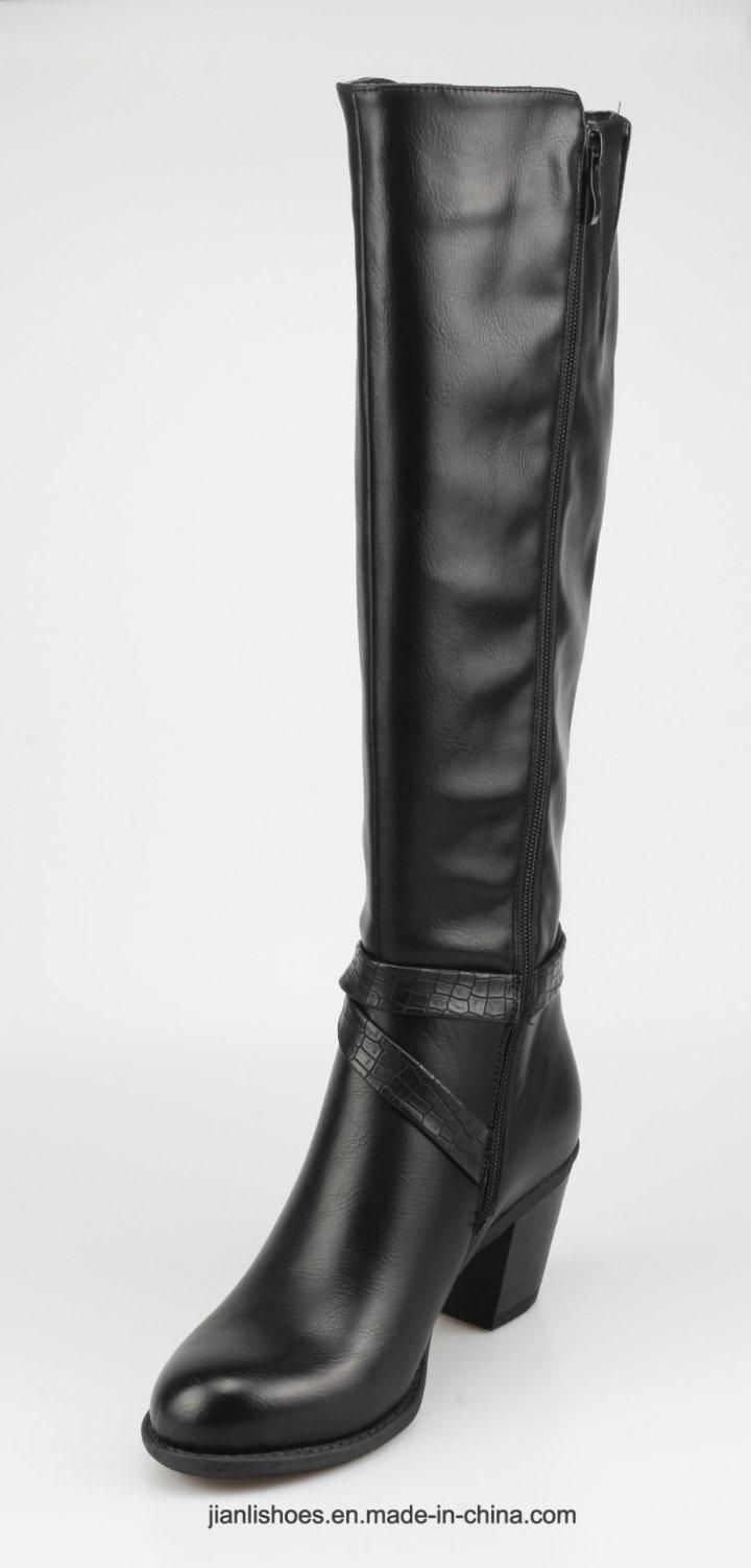 2018 England Style Knee-High PU Crocodile Boots Women Shoes (BT741)