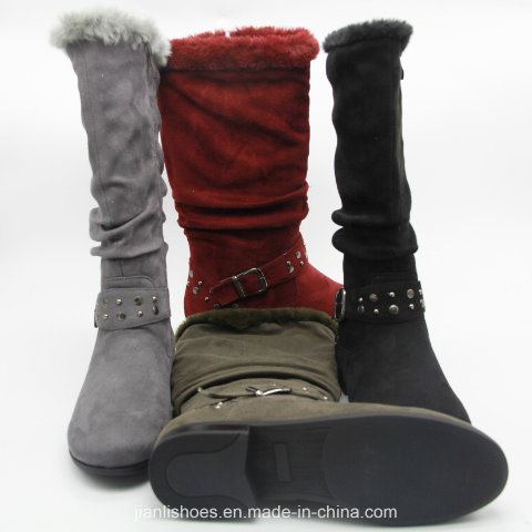 Soft Fur Winter Knee-High Boots with Buckl Decoration (BT710)