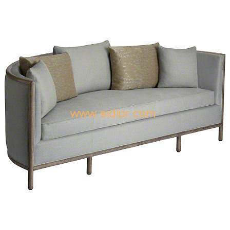 (CL-6602) Classic Hotel Restaurant Lobby Furniture Wooden Fabric Leather Sofa
