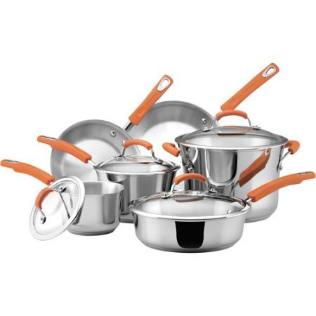 18/10 Stainless-Steel 10-Piece Cookware Set Frying Pan and Pot