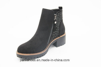 Sexy Zipper Rhinestone Flannelette Ankle Boots for Fashion Lady (AB606)