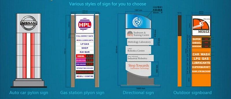 China Gas Station Standing Pylon Signs China Gas Station