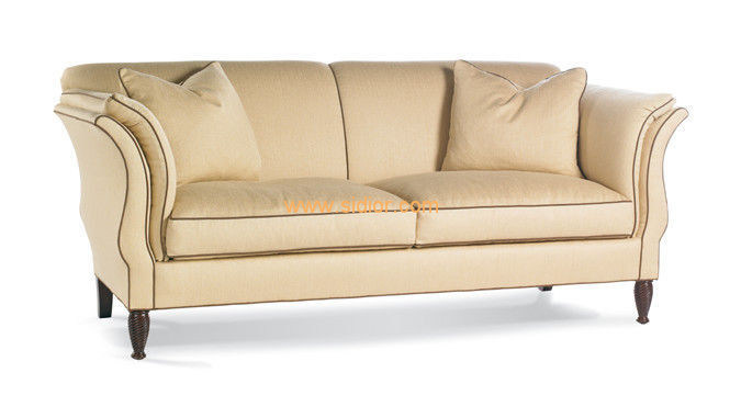 (CL-6611) Classic Hotel Restaurant Lobby Furniture Wooden Fabric Leather Sofa