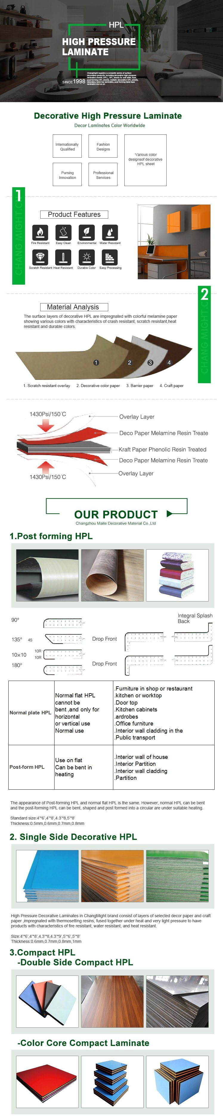 China price sheets of formica hpl high pressure laminate for High pressure laminate kitchen cabinets