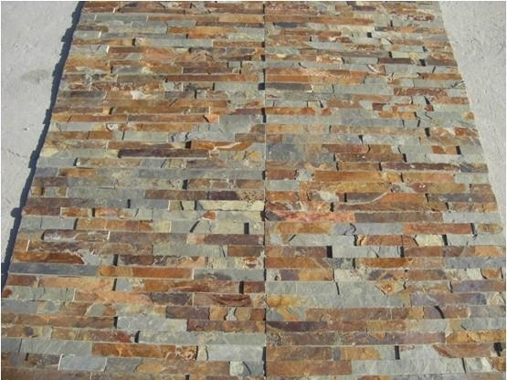 China Natural Rust Color Slate Tiles Stone Wall for Sale