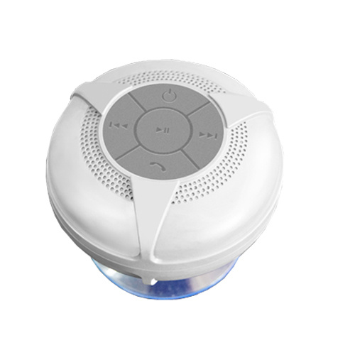 Ipx4 Grade Waterproof Stereo Wireless Bluetooth Shower Speakers with Suction Cup White